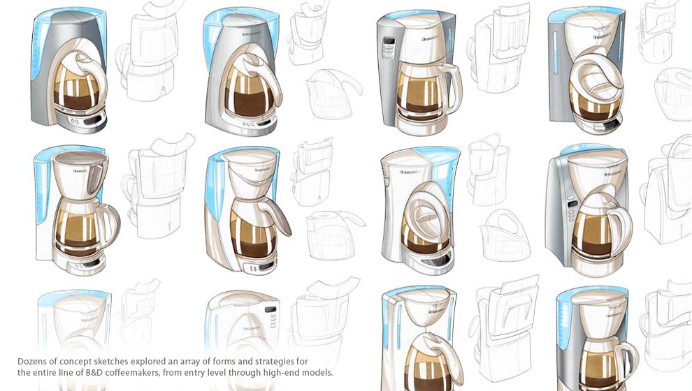 Hand Sketched Concepts Of Several Black And Decker Coffeemakers